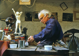 Tom Greenshields working on a sculpture